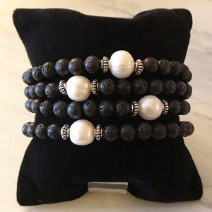 🔴SALE ! Lava rock genuine pearl bead bracelet
